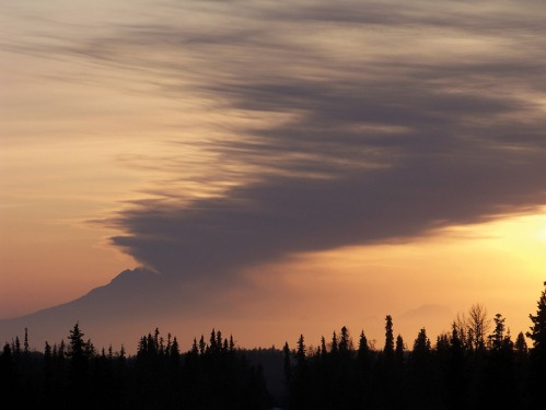 At left is the winning photo, taken by Joe Kashi, of Soldotna, showing Mount Redoubt at sunset from Robinson Loop Road on March 31.