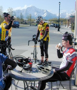 Riders take a break at the first control at Vagabond Blues in downtown Palmer.