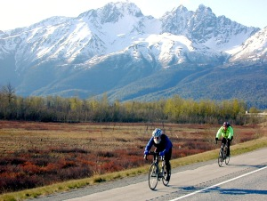 Photos courtesy of Kevin Turinsky At top, riders head toward Palmer with the Twin Peaks in the background in a May 2008 300-kilometer brevet.