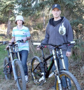 Photo by Clark Fair, Redoubt Reporter.  Shawn Schooley and his son, Jacob, are preparing to compete in the USA Cycling Mountain Bike National Championship in downhill racing.