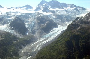 Photos courtesy of David Wartinbee. A glacier at the eastern end of Lake Clark Pass in the Chigmit Mountains in 2004.
