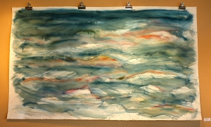 """Reds in Blue: Almost Home"" is a large-scale watercolor by Sherri Sather."