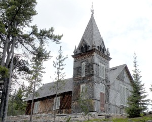 The shell of a church sits on the shore of Lake Bennett at the end of the Chilkoot Trail.