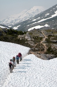 A Boy Scout troop from Evansville, Ind., crosses a snow chute on the Canadian side of the Chilkoot Trail on July 9. Trekking poles are recommended gear for the trail, since snow often is found on the trail for most, if not all, of the summer.