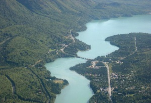 Kenai Lake, which flows into the Kenai River at Cooper Landing, is considered to be the headwaters of the river, but the lake itself has multiple streams that feed it.
