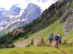 Photo by Clark Fair, Redoubt Reporter. As they enter Wonder Pass, Jim Bell points out the next portion of their route.