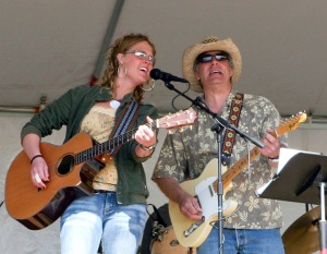 Photo courtesy of Lee Johnson. Katie Evans and Brian Zinck perform at a KDLL Art and Music Festival. Evans recently moved to Austin for the winter to pursue a music career.