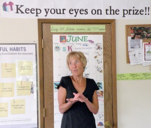Photo by Jenny Neyman, Redoubt Reporter. Sharon Radtke expresses thanks and support at a Weight Watchers open house held in honor of her retirement Saturday in Soldotna.