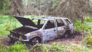 Photos courtesy of Paul Wright. Paul Wright, of Soldotna, was informed by Alaska State Troopers that his car was on fire in Nikiski on Aug. 14.  The vehicle was destroyed and all his belongings stolen.