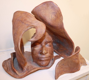 Ann Wilson was known for her masterful clay work, not only skillfully-executed functional objects, but also her clay sculptures, like this self-portrait.