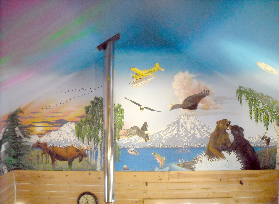 Living room last frontier ninilchik home captures alaska for Ceiling sky mural