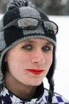 "Isn't ""she"" lovely? Bud Sparks got prettied up for the She Can Ski ""Drag Race."""