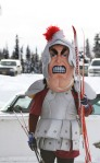 Soldotna Middle School ski coach, John Harro, donned the school mascot costume and his skate skis to motivate his girls team.
