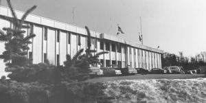 Photo courtesy of the Kenai Historical Society. This photo of the Borough Administration Building was most likely taken sometime in early spring in the mid- to late 1970s.