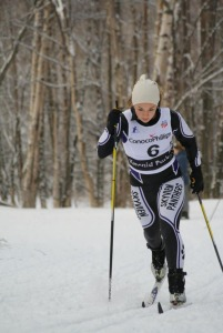 Figure 3: This skier is driving her leg forward, which then becomes her gliding ski. Mika Morton, of Skyview, at the 2011 Lynx Loppett.