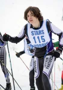 Photos courtesy of Clark Fair. Figure 7: Use a longer arm extension on flat ground. Here, Logan Hemphill, of Skyview High School, skis in the 2011-12 Region III meet held Feb. 17 and 18, 2012, at Tsalteshi Trails in Soldotna.
