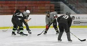Photo courtesy of Heidi Hanson. Ambush players square off during a recent scrimmage.