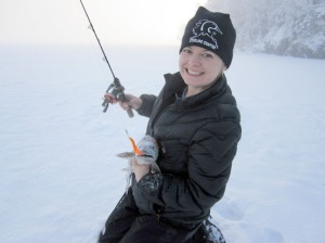 Photo courtesy of Christine Cunningham. Lake trout lie hidden in Hidden Lake —especially on windy winter days.