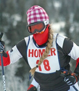 Photo courtesy of Clark Fair. A Kenai Central High School skier is dressed for success in a chilly ski race in Homer on Dec. 16. Wearing layers is always recommended outdoors. In particularly cold temperatures, be sure to cover your head — particularly the ears — protect your eyes against wind and snow and cover your nose and mouth to warm air before it hits your lungs.