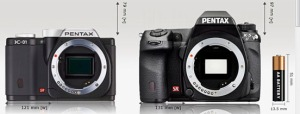 Photos courtesy of www.camerasize.com. The Pentax K-01, left, is noticeably smaller than Pentax's K-5 dSLR.