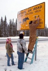Photos by Jenny Neyman, Redoubt Reporter. Tom Netschert updates a moose warning sign along Kalifornsky Beach Road in front of the Soldotna Sports Center on Saturday, with the assistance of Laurie and Terry Speakman.