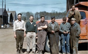 Photo courtesy of the Kenai Peninsula College photo archive. The ARC shop crew, in charge of equipment maintenance, probably in 1952. From left are Russell Bagley, Dale Doner, Dale Rorrison, Paul Tachick, Bill Stock, Jake Dubendorf and Marion Hergatt.