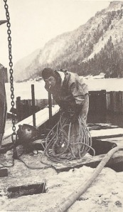 Photos courtesy of Hardscratch Press. Ralph Soberg prepares to dive in Juneau in 1934 at his first bridge-building job.