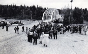 Photos courtesy of Hardscratch Press. Above and below are images from the dedication of the Sterling Highway at the Soldotna bridge in 1949.