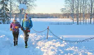 Photos courtesy of Andrea Hambach, Willow Running Company. Yvonne Leutwyler, of Soldotna, and Clark Fair, of Sterling, complete the Willow Winter Solstice Half Marathon on Dec. 22, in temperatures dipping to minus 30.