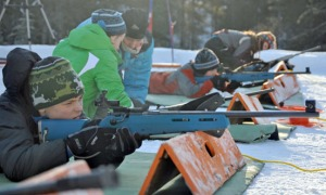Photos by Joseph Robertia, Redoubt Reporter. Several youth take aim at targets 50 meters away during a biathlon event Saturday at Tsalteshi Trails in Soldotna. The event combines the athleticism of skiing with the controlled breathing and precision aiming and shooting of a .22-caliber rifle.