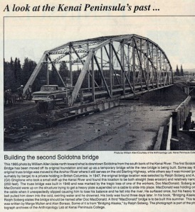 Print clipping from the Peninsula Clarion. This 1965 photo by William Allen looks north toward what now is downtown Soldotna.
