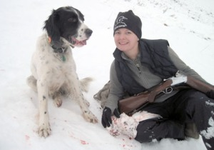 Photo courtesy of Christine Cunningham. Winchester the magnificent shows his prowess at upland bird hunting.
