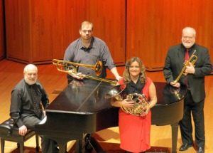 Photo courtesy of Chugach Brass. Chugach Brass will perform Saturday in Soldotna. From left are Dean Epperson, piano, Christopher Sweeney, trombone, Cheryl Pierce, horn, and Linn Weeda, trumpet.