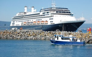Photo courtesy of the Homer Tribune. The cruise ship Amsterdam visits Homer in a previous summer.