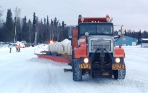 Photo courtesy of Carl High, Alaska Department of Transportation and Public Facilities. Kenai Peninsula highways will be cleared of snow more quickly the rest of this winter with the arrival of a tow plow, which can cover an more of a roadway with one pass than traditional plows.