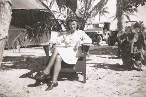 Lt. Quesnel takes a break in the sun and sand on the island of Saipan, where she was assigned to a station hospital with the Army Nurse Corps in 1945.