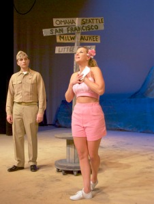 "Lt. Cable (Justin Ruffridge) and Ensign Forbush (Karin Caldwell) meet in ""South Pacific."""