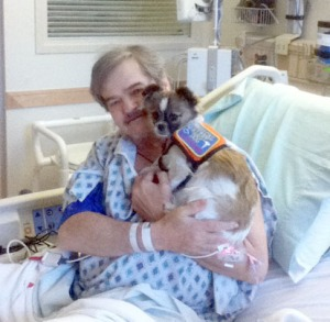 Photos courtesy of Don Duncan. Dolly visits her owner, Don Duncan, in the ICU while he was in the hospital for his various health problems. She is trained to bark an alert when she notices an irregularity in his heartbeat.