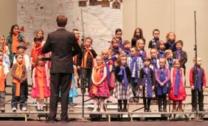 "Photos courtesy of Kimb Remsen, Mountain View Elementary School.Mountain View Elementary School students in Kenai participate in a ""Snowmen At Night"" school concert over the winter. A ""I Hear America Singing"" concert will be performed Thursday in recognition of March being Music in Our Schools Month."