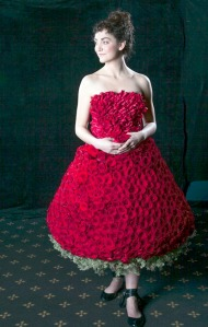 "Photos courtesy of Michele Conti. ""Beloved"" is a gown constructed with red roses."