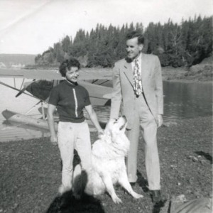 Photo from Alaska Digital Archives. By 1950, both Roxy Skobelska and Harold Pomeroy had moved to Bear Cove near the head of Kachemak Bay.