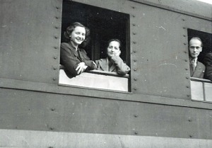 "Photo courtesy of Dolly Farnsworth. Roxy Skobelska, left, and her mother joined other ""displaced persons"" onboard a train out of Munich, Germany, on their way to Bremen, where they boarded a ship bound for Boston. They arrived in November 1948."