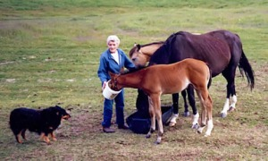 Nina Robinson feeds her horses in 1987.