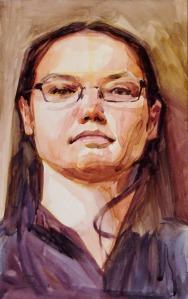 """Kandie"" is a watercolor of a woman wearing glasses, an example of Adcox's portraiture."