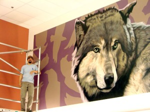 While living in Nome, James Adcox painted murals at several Bush schools, including this one of a wolf. Adcox and his wife now live on the central Kenai Peninsula.
