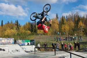 File photo by Jenny Neyman, Redoubt Reporter. Gaden Ames does a backflip high over the Soldotna Skate Park during the third annual Soldotna Bike, Skate and Scooter Challenge on Sept. 29, 2012.