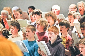"Photos by Sean Pearson, Homer Tribune. Chorus members rehearse Brahms' ""Requiem"" in Homer recently. The piece will performed in Kenai and Homer this weekend."