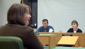 Photo by Jenny Neyman, Redoubt Reporter. Sarah Hondel, daughter of fired Soldotna librarian Terri Burdick, addresses the Soldotna Council Meeting on April 10, including City Manager Mark Dixson and acting Mayor Brenda Hartman.