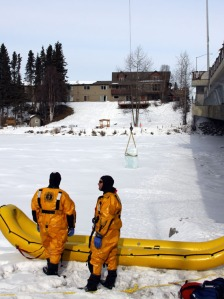 Personnel with Central Peninsula Emergency Services were on hand with safety gear to venture out onto the river ice to oversee the installation of the ice block.