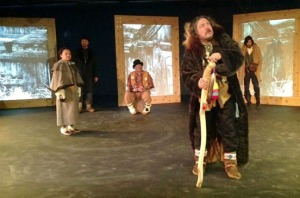 Allan Hayton, as Lear Khehkwaii, with ensemble members in a recent Fairbanks Shakespeare Theatre rehearsal. The troupe is touring the production around Alaska this month and next.
